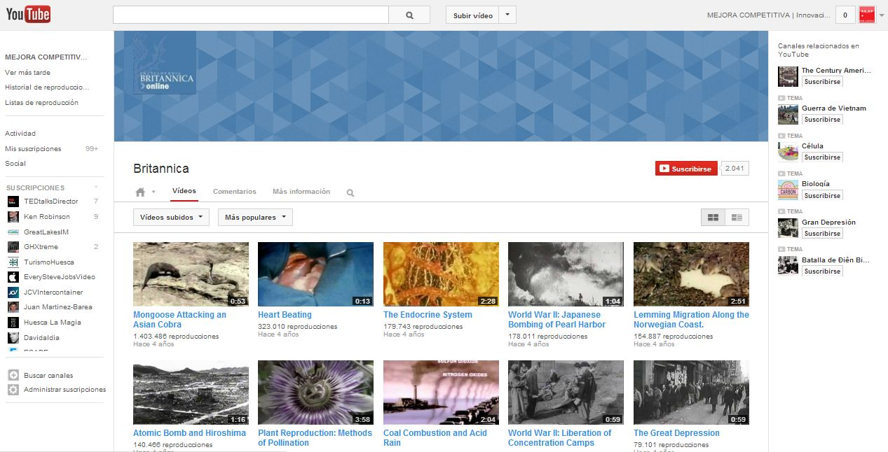 Britannica canal de Youtube