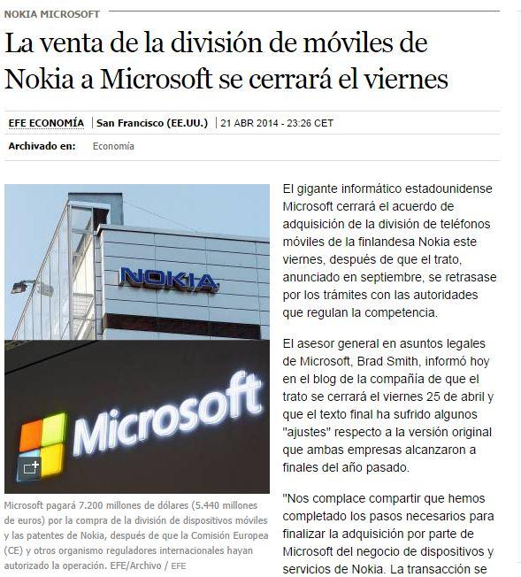 Nokia fin a los Móviles