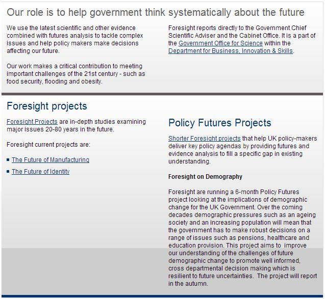 foresight gobierno británico