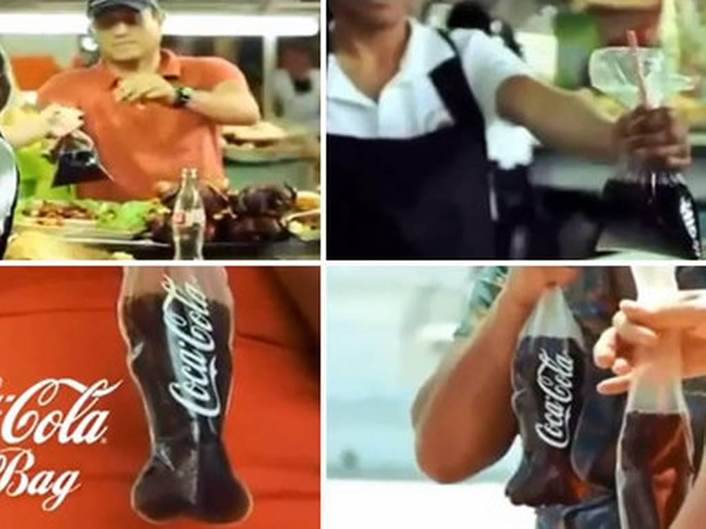 Coca Cola en bolsa de plástico