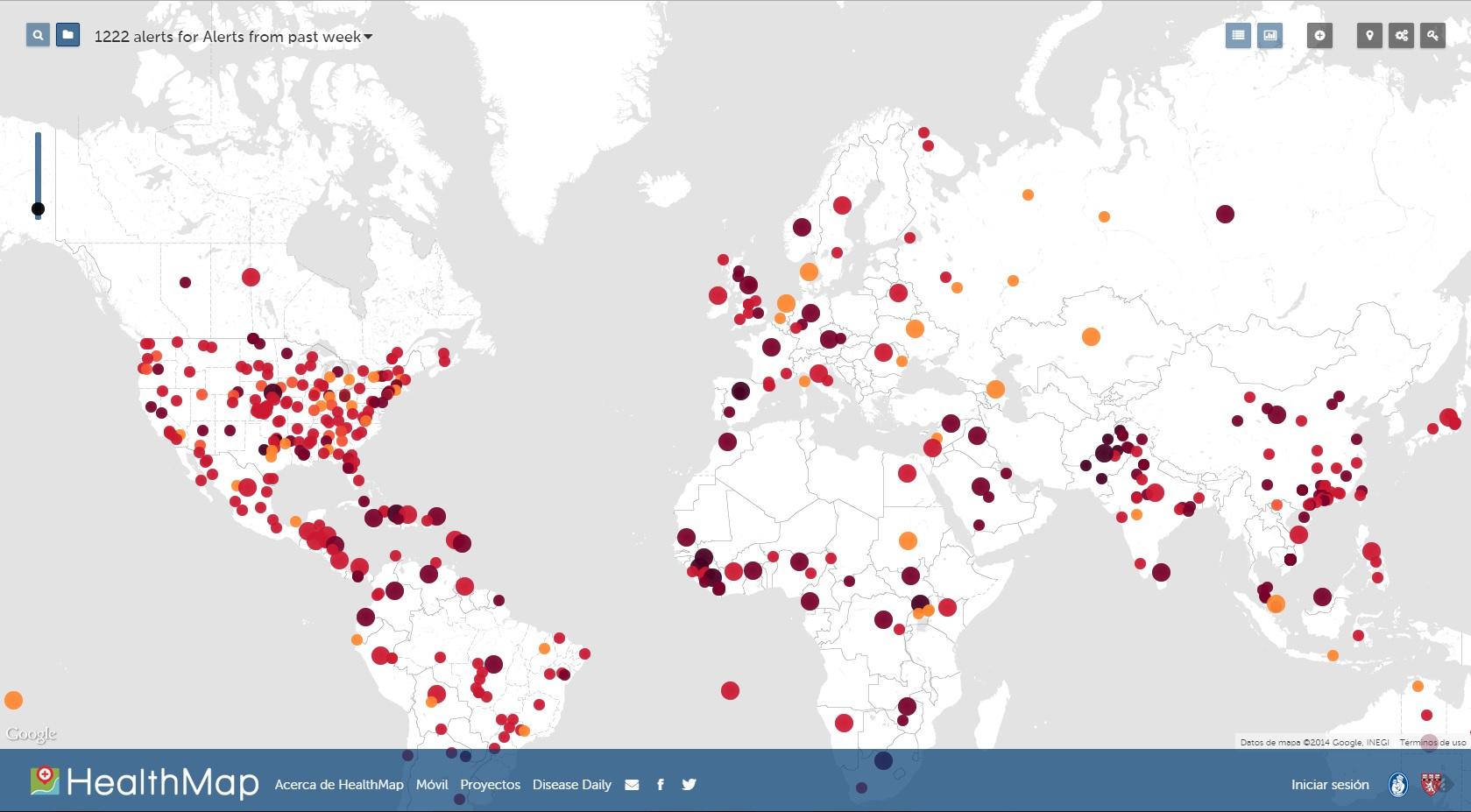 HealthMap: mapa de enfermedades infecciosas
