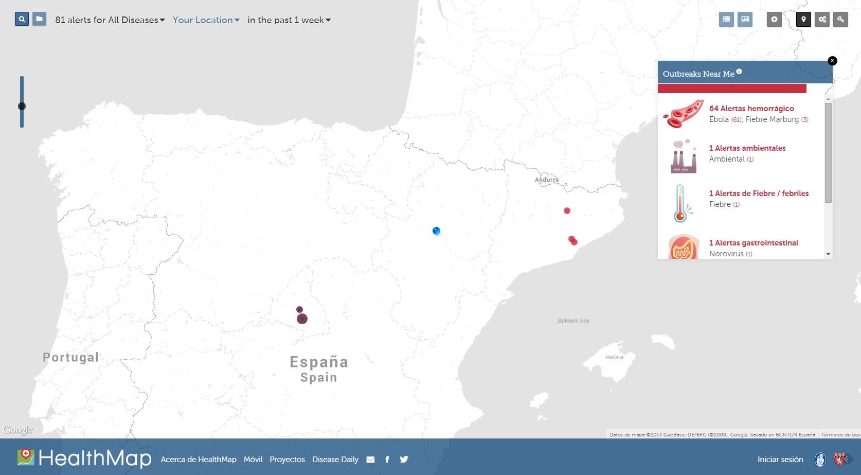 HealthMap: enfermedades infecciosas hoy en España