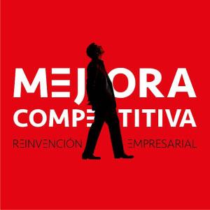 (English) Logo Mejora Competitiva sobre fondo rojo