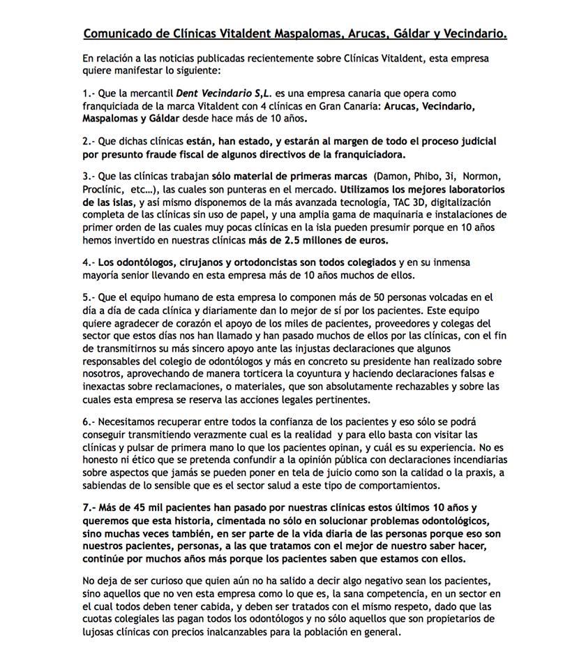 Comunicado Vitaldent Las Palmas de Gran Canaria