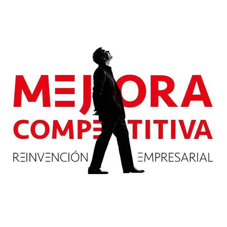 Mejora Competitiva. Logo Marca. Reinvención Blanco